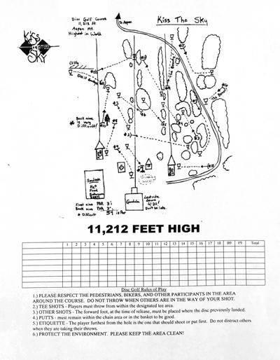 Aspen Mountain Disc Golf Course Score Card